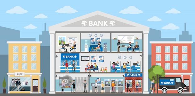 Interior do edifício do banco. cidade de construção na paisagem urbana. escritórios bancários com pessoas.
