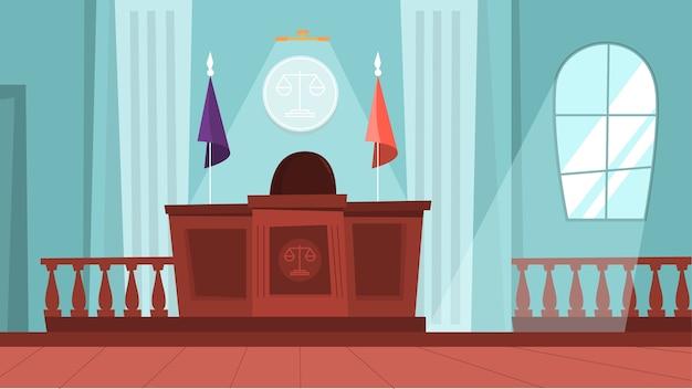 Interior do edifício do tribunal com sala de audiências vazia. processo de teste