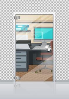 Interior do escritório através da porta de vidro plana