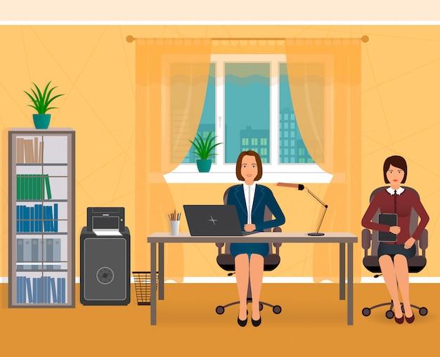 Interior do escritório com dois funcionários de negócios em um local de trabalho. ilustração plana.