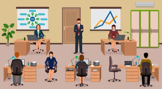Interior do escritório com empregado e chefe. situação de negócios do trabalho em equipe.
