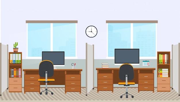 Interior do escritório com estação de trabalho