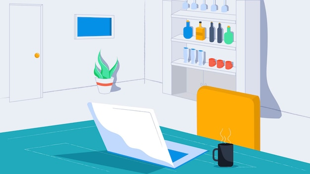 Interior do escritório com laptop e prateleira de fundo