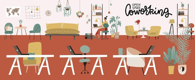 Interior do escritório de coworking moderno centro de espaço aberto criativo ambiente verde no local de trabalho