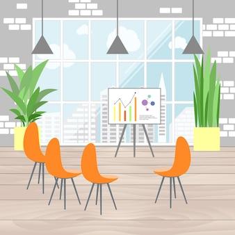 Interior do escritório em design plano, apresentação de infográfico, vista da janela em megapolis. ilustração de plano de negócios.