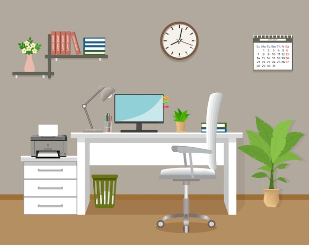 Interior do escritório sem pessoas. modelo de sala interior a trabalhar no edifício corporativo. sala de escritório com móveis e janela. ilustração em vetor estilo simples