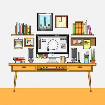 Interior do espaço de trabalho com elemento de escritório