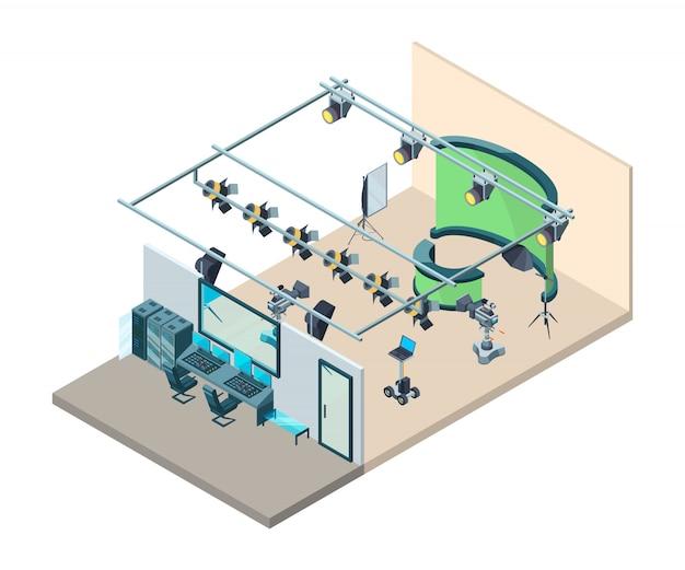 Interior do estúdio de tv. sala de produção de televisão com equipamento profissional câmeras de vídeo pisca softboxes tripé isométrico
