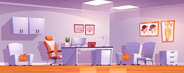 Interior do gabinete da clínica de cirurgia plástica com móveis e material médico