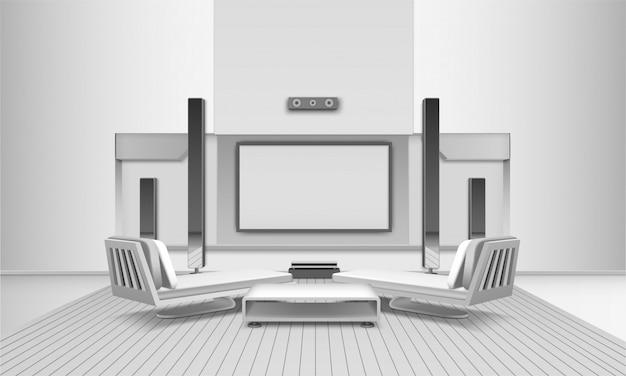 Interior do home cinema em tons de branco