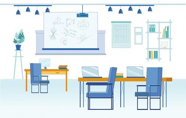 Interior do laboratório de matemática aplicada na faculdade