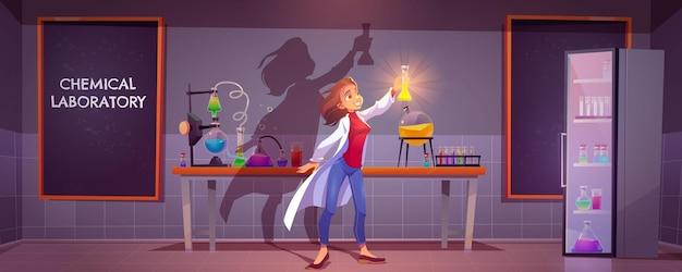 Interior do laboratório químico com equipamento científico, frascos de vidro, tubos e béqueres