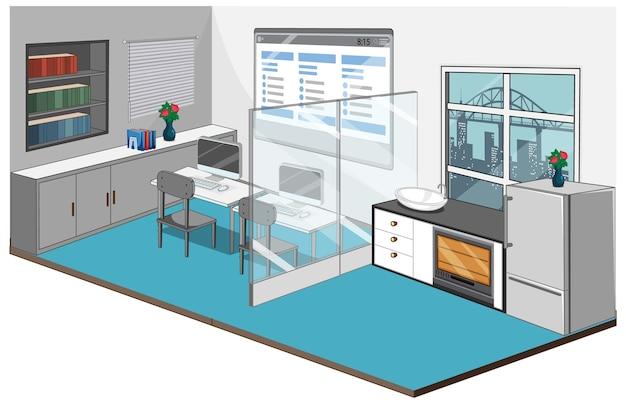 Interior do local de trabalho com móveis e fundo azul