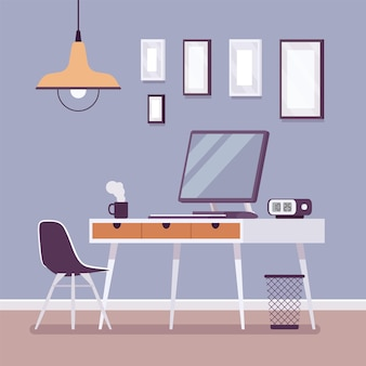 Interior do local de trabalho para um trabalho confortável
