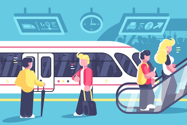 Interior do metrô com trem de pessoas e escada rolante