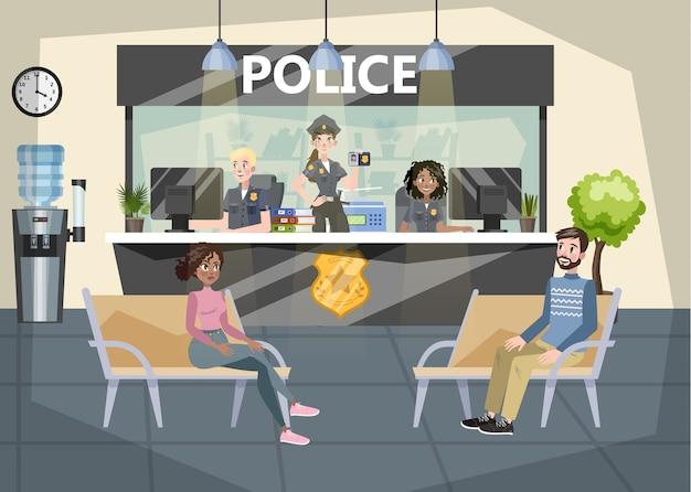 Interior do prédio da delegacia de polícia. policial dentro