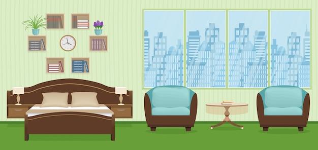 Interior do quarto com cama, poltronas, relógio e estante na parede.