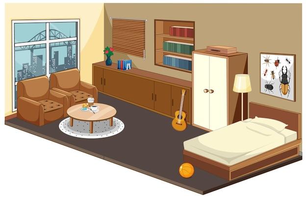 Interior do quarto com móveis e elementos de decoração em madeira