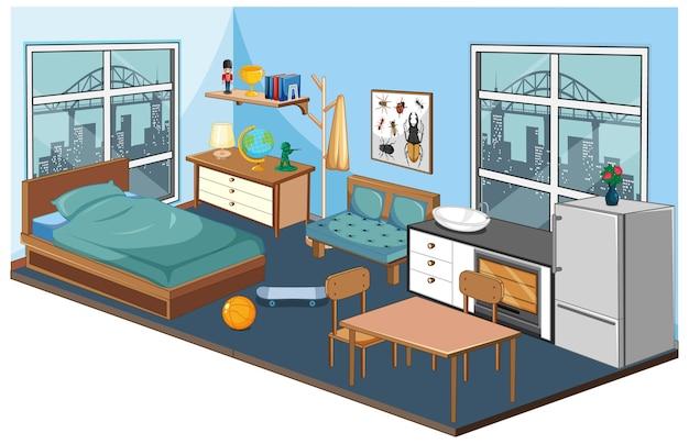 Interior do quarto com móveis e elementos de decoração em tema azul