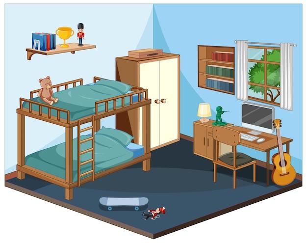 Interior do quarto com móveis em azul