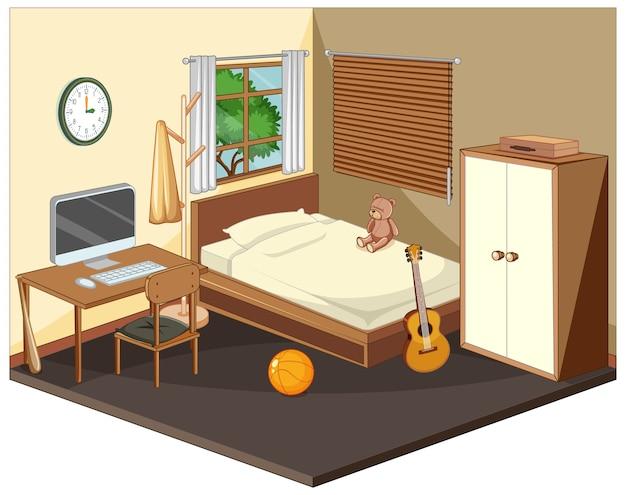 Interior do quarto com móveis em bege