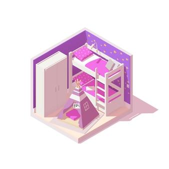 Interior do quarto da criança ou do bebê com beliche, paredes roxas, barraca infantil e armário branco