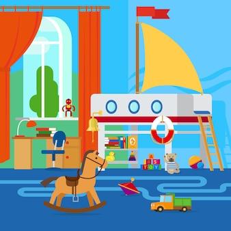 Interior do quarto das crianças com móveis e brinquedos