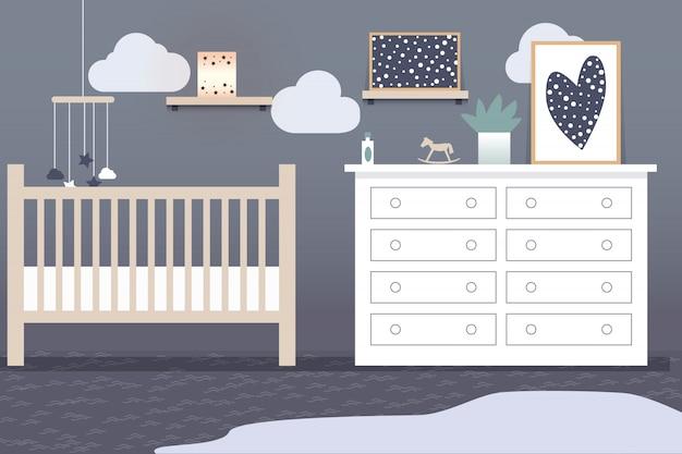 Interior do quarto das crianças em tons de cinza e móveis leves. cama de bebê com brinquedos pendentes. pinturas abstratas nas paredes