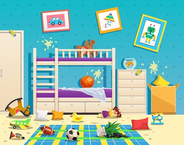 Interior do quarto de crianças bagunçado com manchas sujas na parede e brinquedos espalhados no chão liso