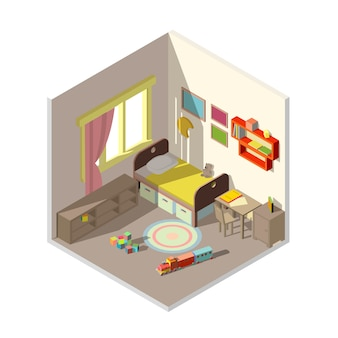 Interior do quarto de crianças com janela