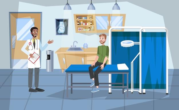 Interior do quarto de hospital. médico e paciente dentro