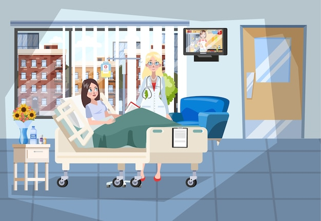 Interior do quarto de hospital. paciente deitado na cama