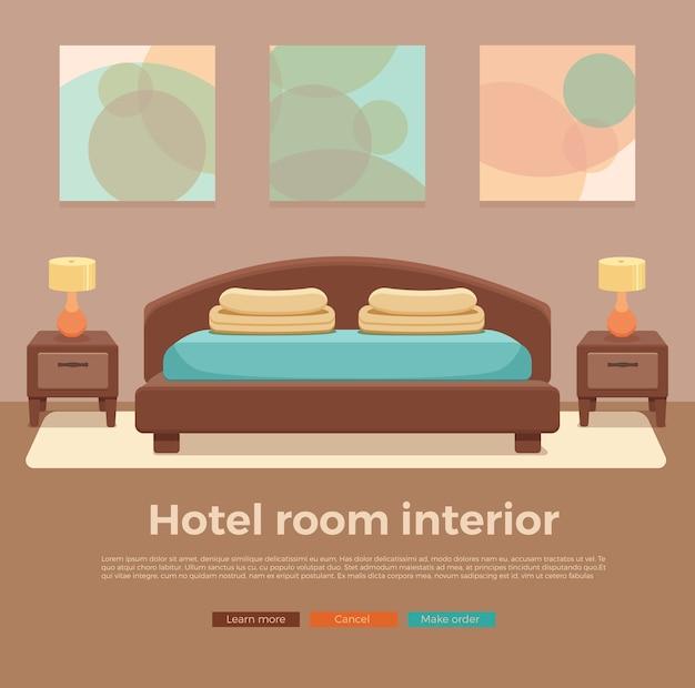 Interior do quarto de hotel. ilustração colorida de cama de mobília de apartamento de quarto, mesa de cabeceira, lâmpada.