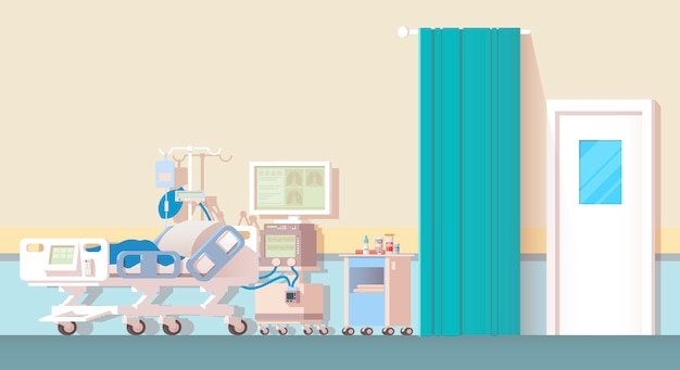 Interior do quarto do hospital.