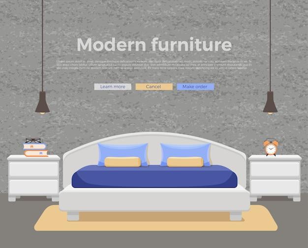 Interior do quarto. ilustração colorida de cama de mobília de apartamento de hotel, mesa de cabeceira, lâmpada, planta de casa.
