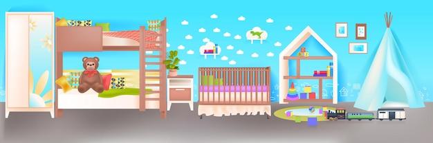 Interior do quarto infantil vazio, sem pessoas, quarto do bebê com berço de madeira horizontal