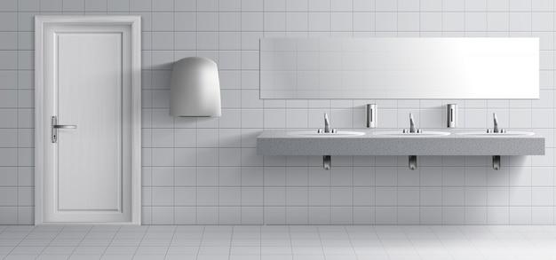Interior do quarto lavatório público