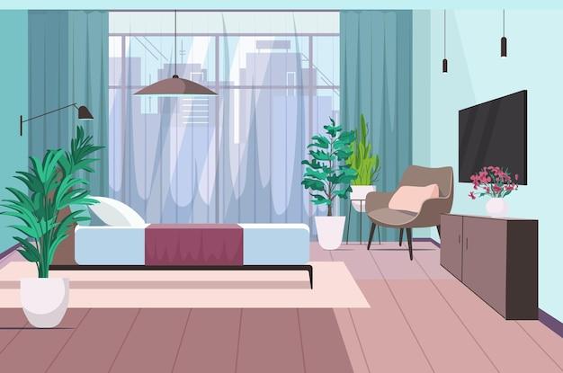 Interior do quarto moderno vazio, sem pessoas, quarto da casa com ilustração vetorial horizontal de móveis