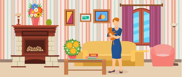 Interior do quarto. mulher segurando o gato em pé em casa na ilustração plana. moderna, limpa, confortável e acolhedora sala de estar com sofá, mesa, poltrona, lareira.