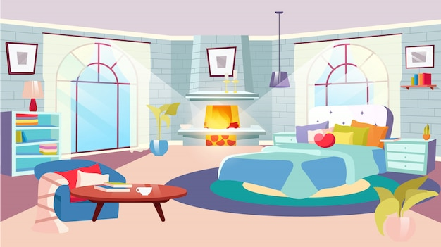 Interior do quarto na ilustração diurna. cama enorme com almofadas decorativas, cobertor no quarto espaçoso. lareira, paredes de tijolo estilizadas com estantes. mesas-de-cabeceira com plantas de interior