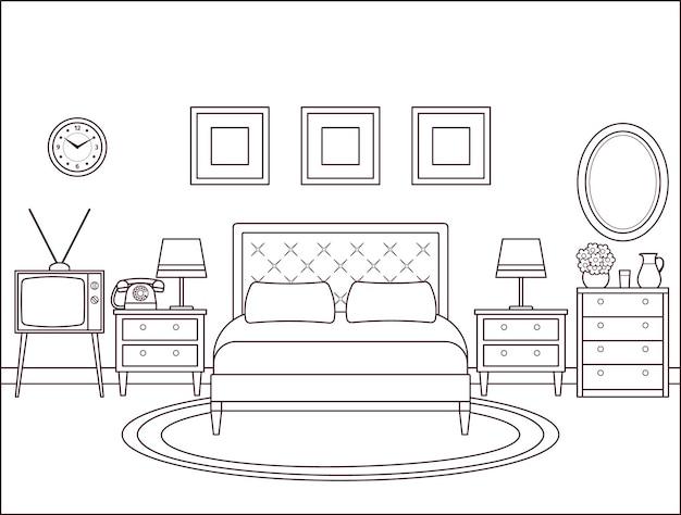 Interior do quarto. quarto de hotel com cama de casal. ilustração vetorial.