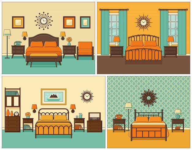 Interior do quarto. quarto de hotel em design retro. ilustração.