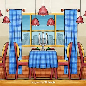 Interior do restaurante com estilo da aguarela