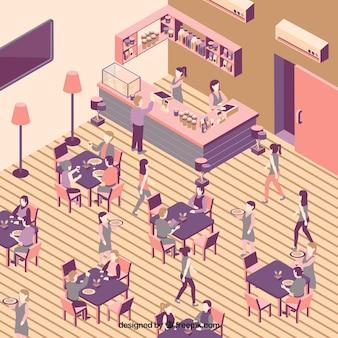 Interior do restaurante com pessoas