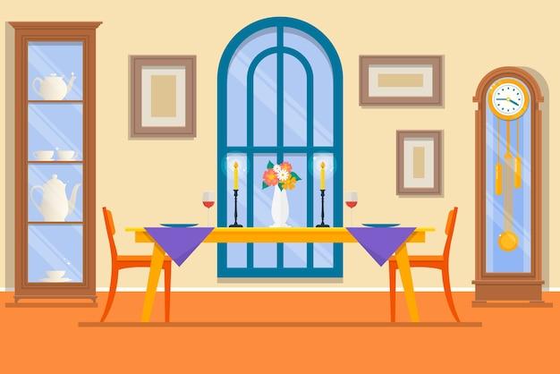 Interior do restaurante ou da sala de jantar