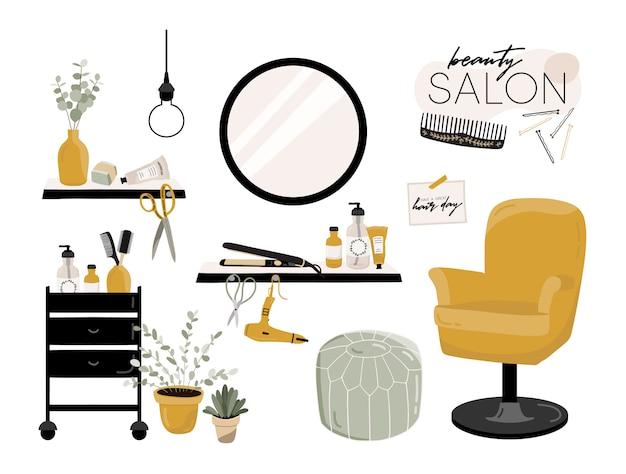 Interior do salão de cabeleireiro.