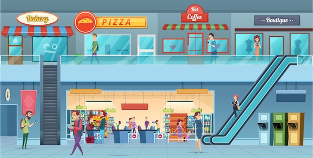 Interior do shopping. varejistas hipermercado comercial shopping grande ilustração dos desenhos animados do windows hall loja de hipermercado e interior de loja, supermercado