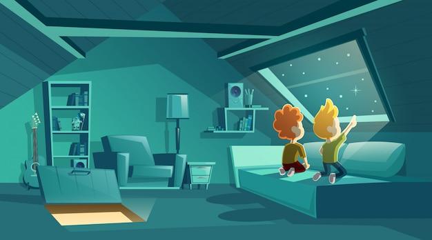 Interior do sótão à noite com duas crianças assistindo para as estrelas, sala dos desenhos animados com mobília