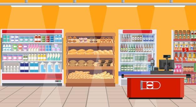 Interior do supermercado. prateleiras com produtos.