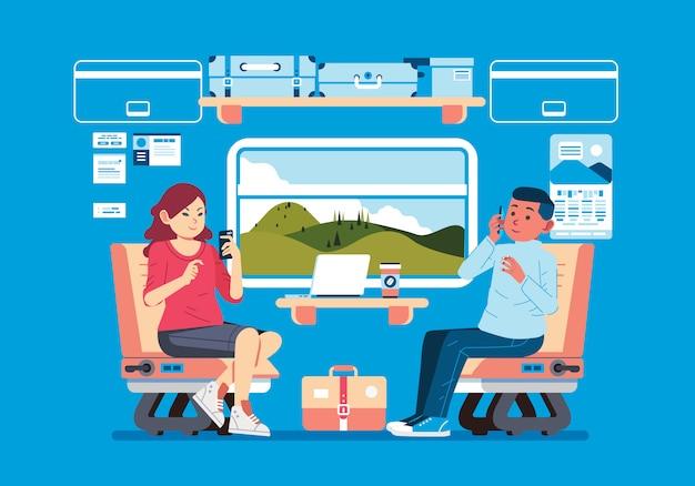 Interior do trem de passageiros com passageiros masculinos e femininos ocupados com seus telefones